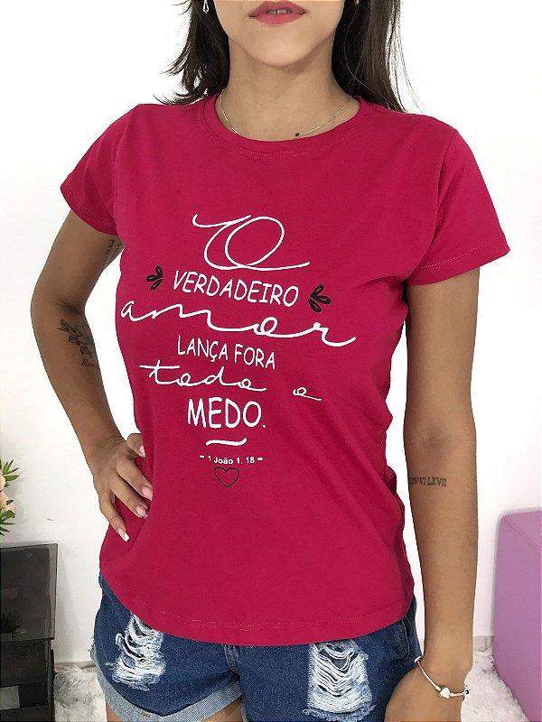 T-SHIRTS FEMININA ALGODÃO ROSA PINK O VERDADEIRO LANÇA FORA