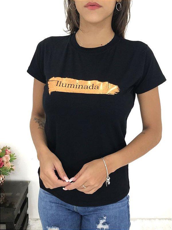 T-SHIRTS FEMININA VISCOLYCRA PRETO ILUMINADA