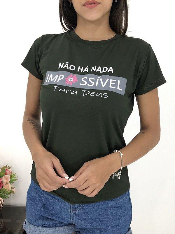 T-SHIRTS FEMININA VISCOLYCRA VERDE IMPOSSÍVEL
