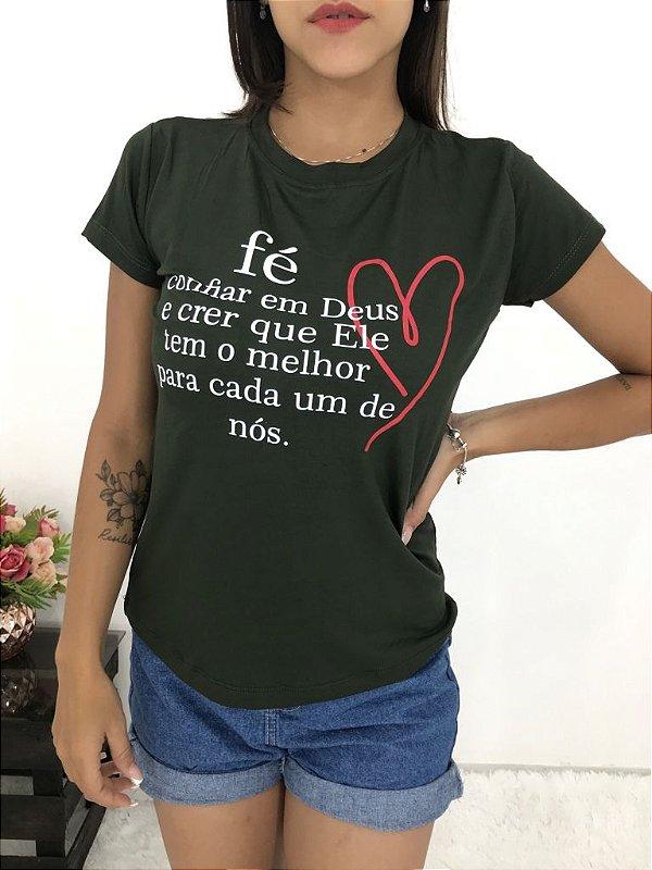 T-SHIRTS FEMININA VISCOLYCRA VERDE CONFIAR EM DEUS