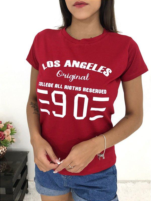 T-SHIRTS FEMININA ALGODÃO VERMELHO LOS ANGELES
