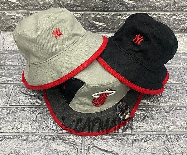 Bucket Hat New Era Dupla Face Miami Heat x Yankees Grey Black
