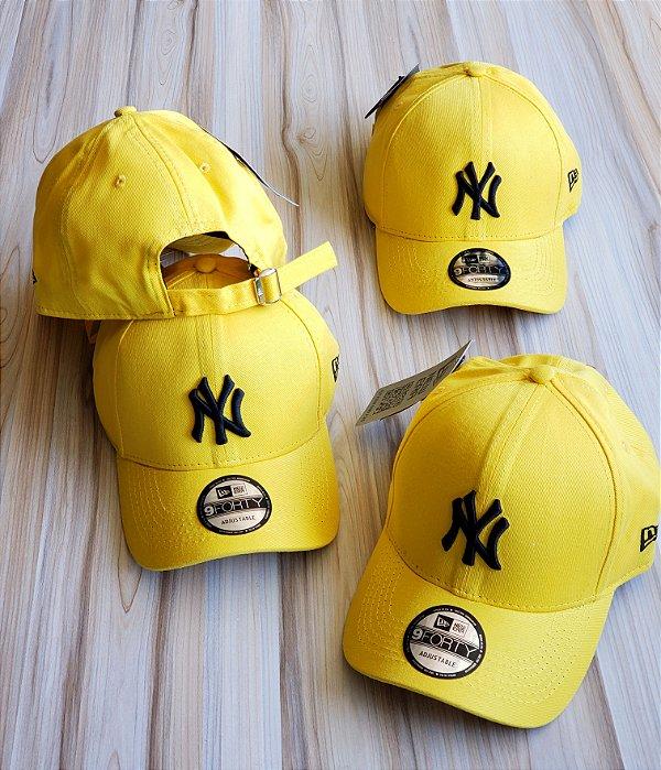 Cap New Era New York Yankees Yellow Black Strapback Aba Curva