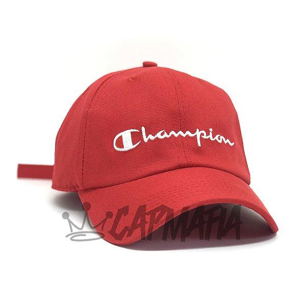 Cap Champion Classic Fit Red White Strapback Aba Curva