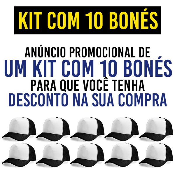 Kit Promocional com 10 Bonés