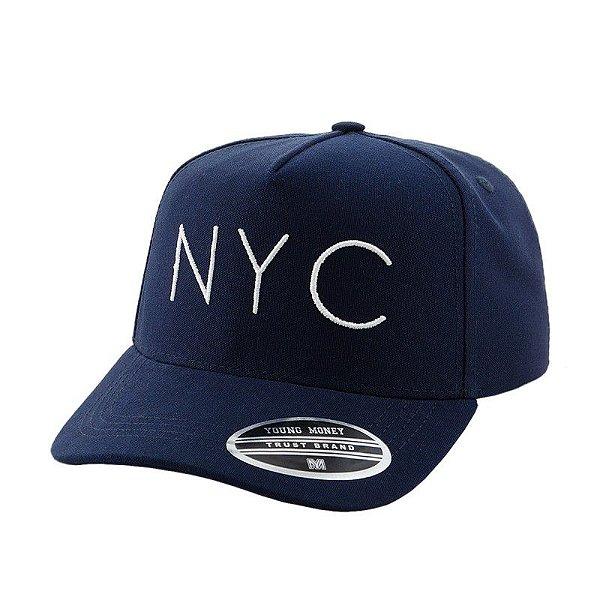 Cap Young Money New York City Navy Snapback Aba Curva