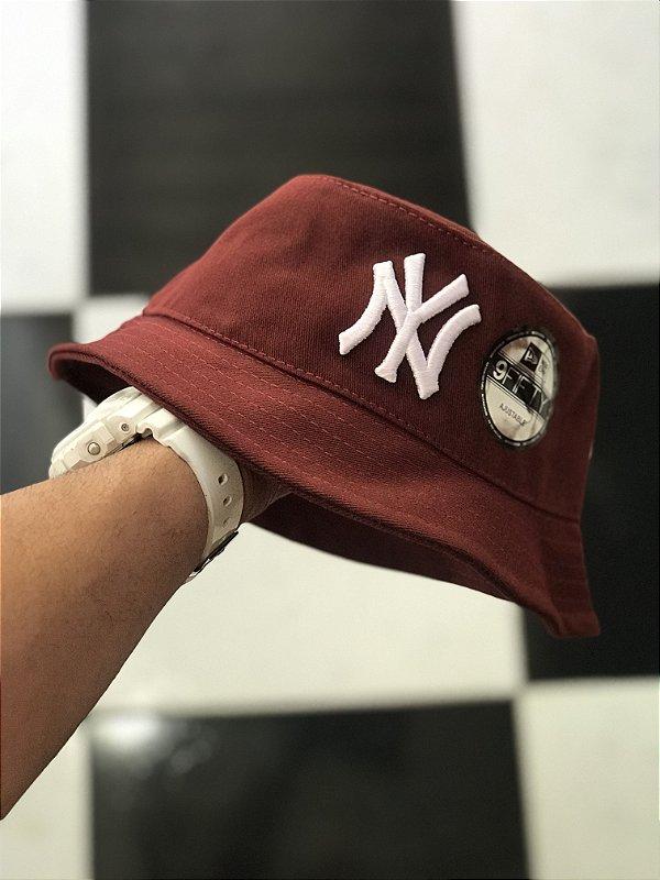 Bucket Hat New Era New York Yankees Wine