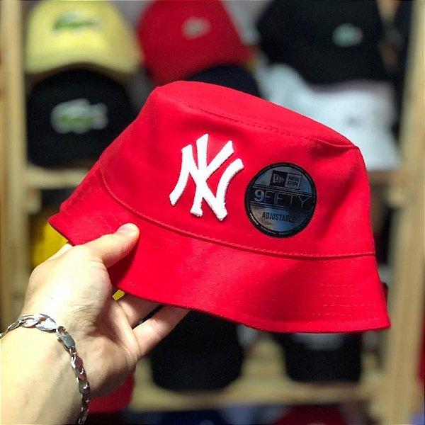 Bucket Hat New Era New York Yankees Red White
