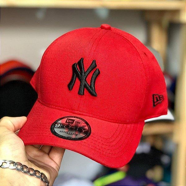 Cap New Era New York Yankees Red Black Strapback Aba Curva