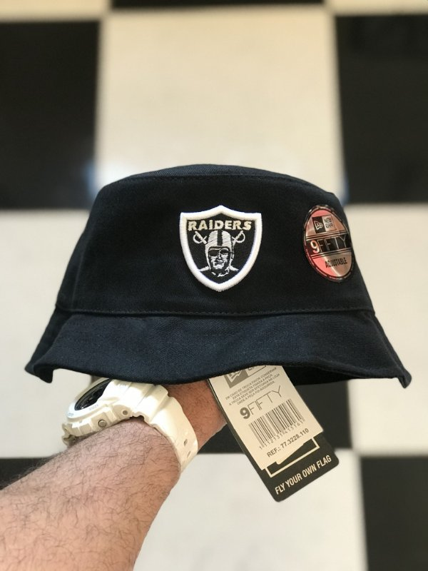Bucket Hat New Era Oakland Raiders Crown Checked Black