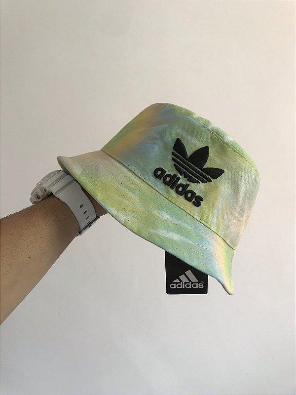 Bucket Hat Adidas Brand Tie Dye Green Lights Black