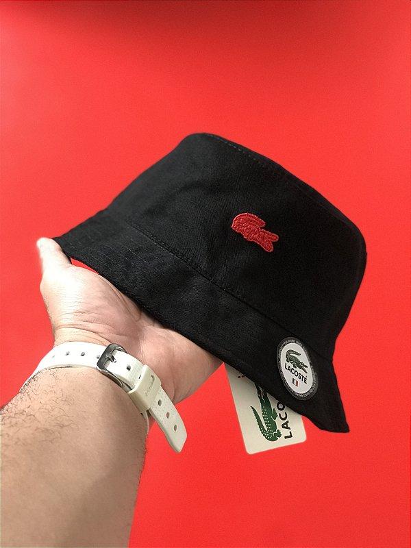 Bucket Hat Lacoste Croc Black Red