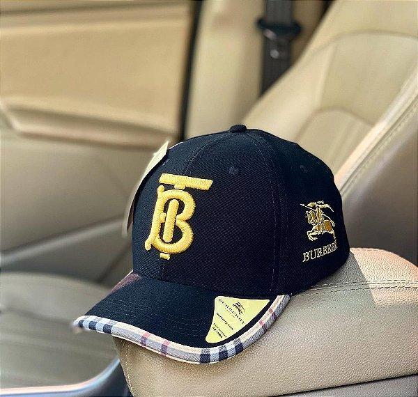 Cap Burberry Brand Black Gold Strapback Aba Curva