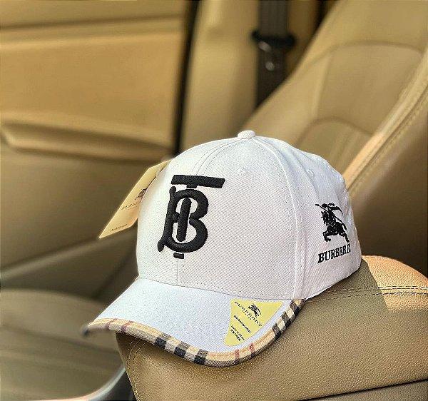 Cap Burberry Brand White Black Strapback Aba Curva