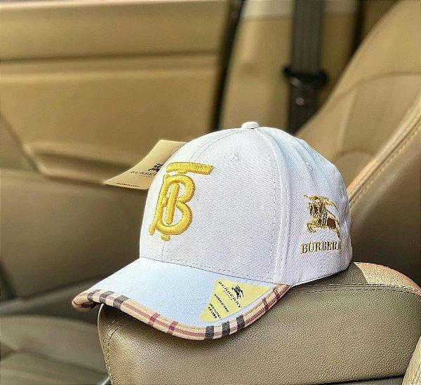 Cap Burberry Brand White Gold Strapback Aba Curva