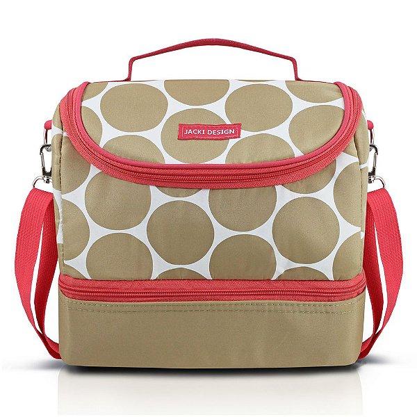 Bolsa Térmica com 2 Compartimentos Dot - Bege/Salmão - Jacki Design