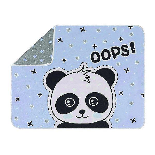 Manta Para Bebê em Malha - Panda Azul - Colibri