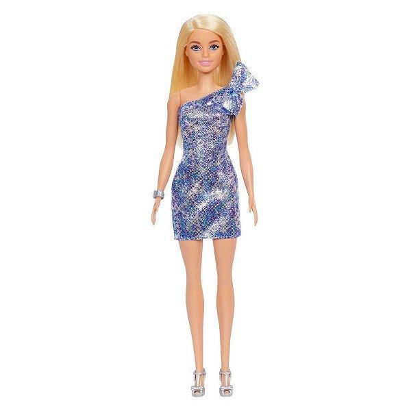 Barbie Fashion Glitter - Loira com Vestido Azul/Brilho - Mattel