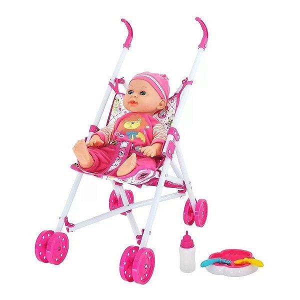 Boneca Bebê Passeio Com Carrinho Divertido - Dm Toys