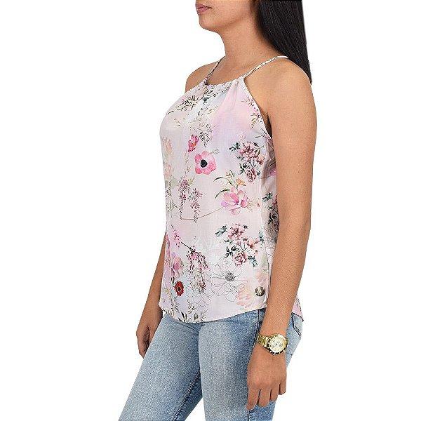 Regata Feminina Flores Rosa Cristal - Beagle