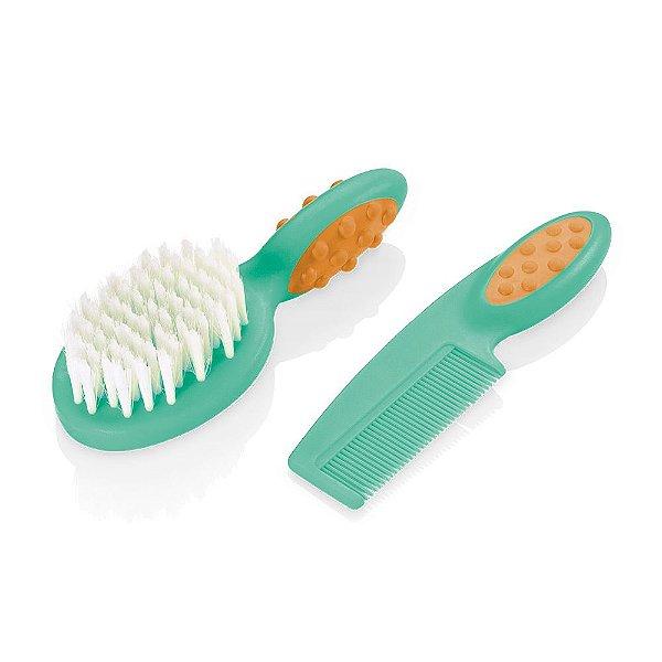 Pente e Escova para Cabelo Soft Touch Verde
