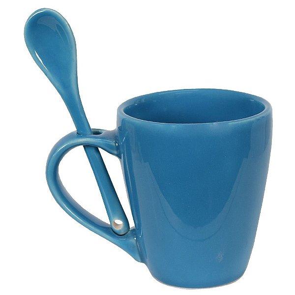 Caneca de Cerâmica Com Colher - Azul - Scalla