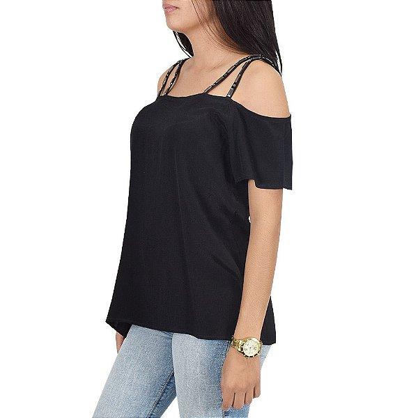 Blusa Ciganinha Com Pedraria - Preta - MX