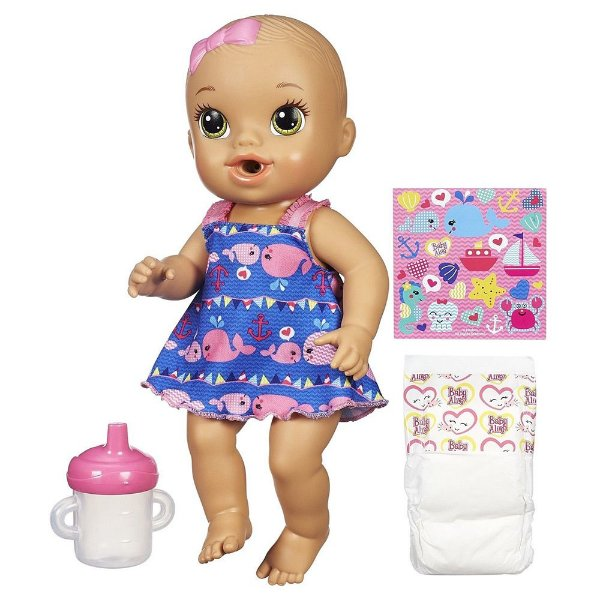 Boneca Baby Alive - Morena Vestido Azul - Hora do Xixi