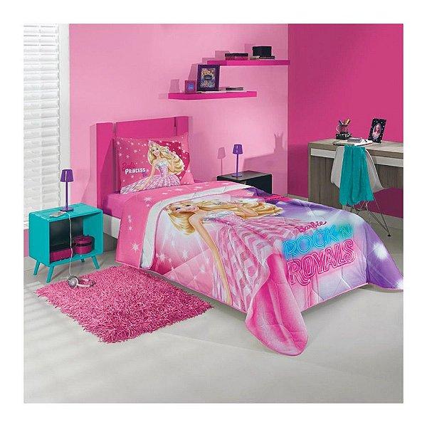 Edredom Infantil Solteiro - Barbie in Rock'n Royals - Lepper