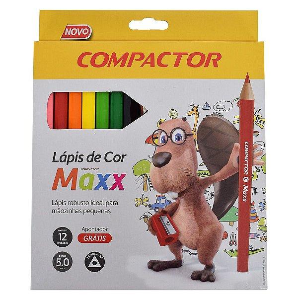 Lápis de Cor Triangular Compactor Maxx - 12 cores + 1 apontador