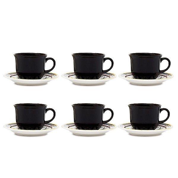 Jogo de Xícaras de Chá Floreal Luiza - 12 peças - Oxford