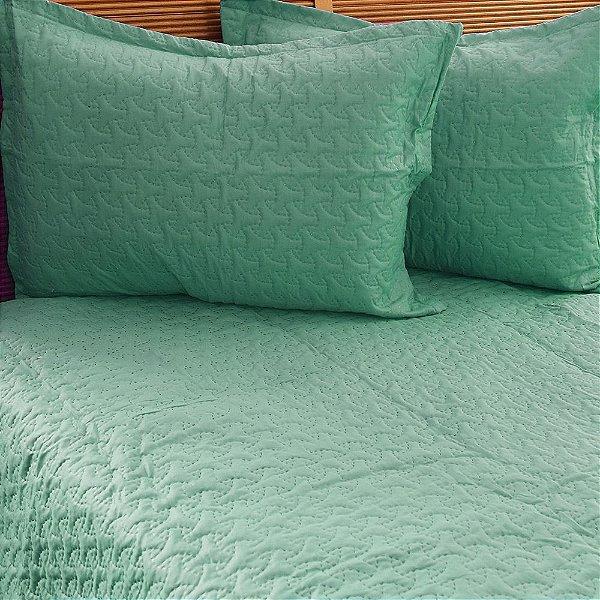 Kit Colcha Matelada Casal Color Art Verde Água - Corttex