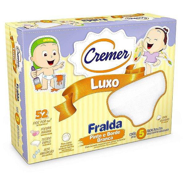 Fralda Luxo Pinte e Borde Branca - 5 unidades - Cremer