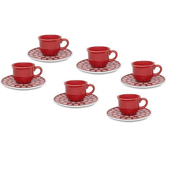 Jogo de Xícaras de Café Floreal Renda - 12 peças - Oxford