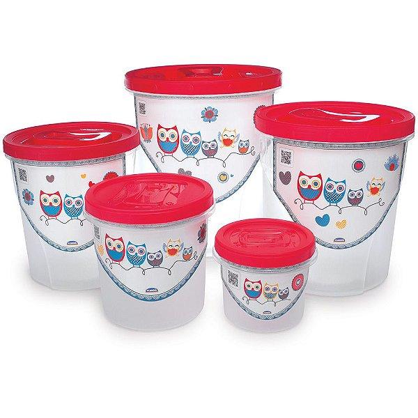 Conjunto de Potes Corujinha - 5 Peças - Plasútil