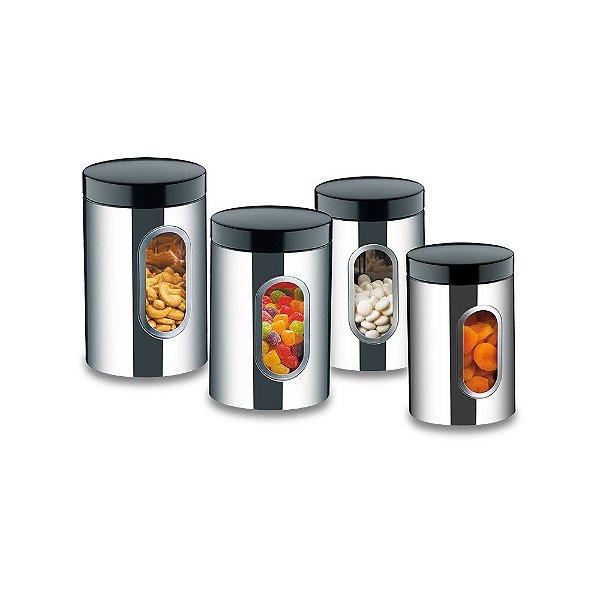 Conjunto de Potes Inox com Visor - 4 peças - Brinox