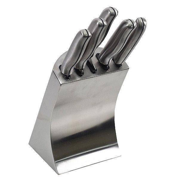 Conjunto de Facas no Cepo - Aço Inox - 6 Peças - Dynasty