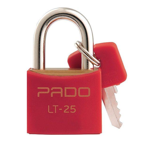 Cadeado Com Chaves Colors - LT 25 mm - Vermelho - Pado