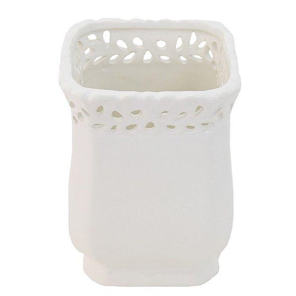 Cachepot Decorativo em Cerâmica Branco Grande