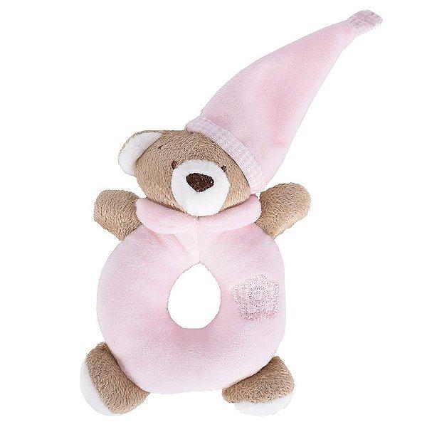 Chocalho de Pelúcia Ursinho Rosa - Zip Toys