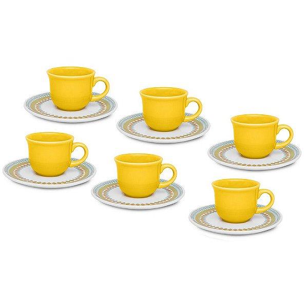 Jogo de Xícaras de Café Floreal Birlo - 12 peças - Oxford