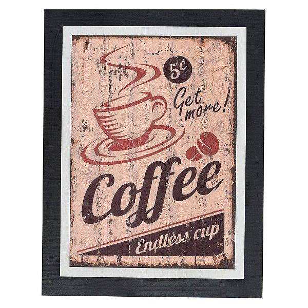 Quadro Decorativo Get More Coffee - 30 x 23 cm