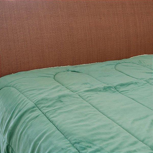 Cobertor Flannel com Sherpa - Verde Água - Naturalle