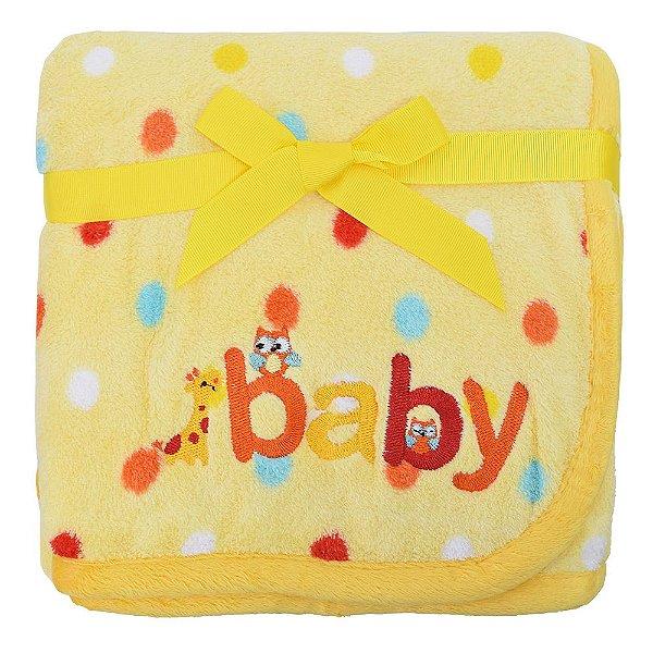 Manta Fleece Amarela Bolinhas com Bordado - Mini Colorê - Lepper