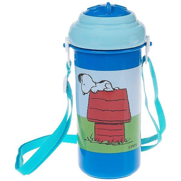 Copo com Canudo de Silicone Peanuts Snoopy - 400 ml - Azul - Pimpolho