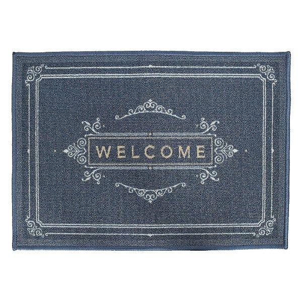 Tapete de Entrada - 50 x 70 cm - Welcome - Azul - Kacyumara