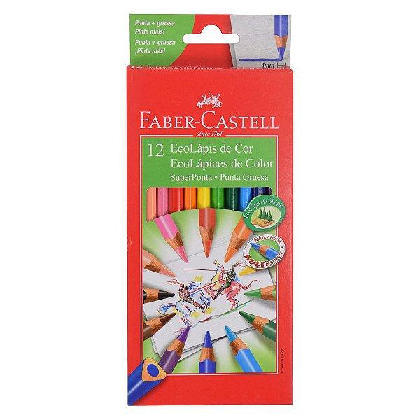 Lápis de Cor Triangular Faber Castell - Super Ponta - 12 cores