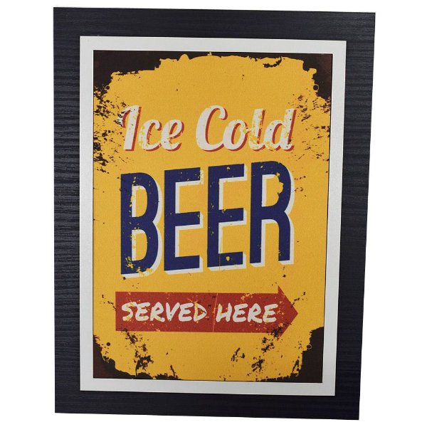 Quadro Decorativo Served Beer Here - 30 x 23 cm
