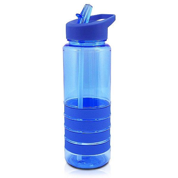 Squeeze com Canudo Retrátil Azul - 750ml - Jacki Design