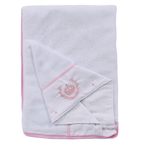 Toalha de Banho Forrada com Capuz Bordado - Rosa - Roana